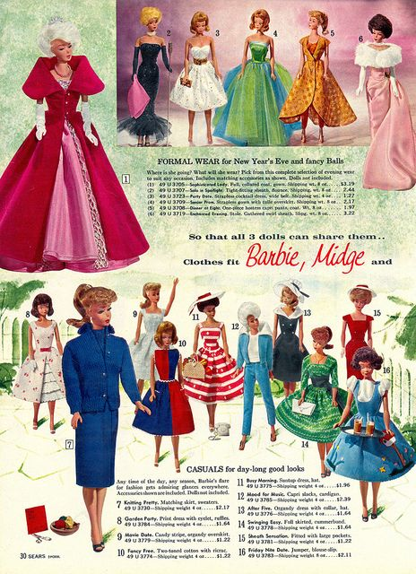 A selection of clothing for Barbie and Midge dolls by Mattel, with rare models including a platinum white Bubblecut Barbie doll and the early issue smiling, freckle-less Midge doll with short curly hair, from that year's Sears Christmas Wish Book, United States, 1963, published by Sears, Roebuck & Co.