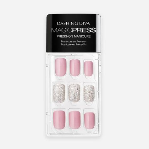 Go 'Above the Beyond' with nails that pack the punch with hot pink and shimmery white glitter. Get the best press on nail look with Dashing Diva's Magic Press nails. Long lasting, chip-proof, fast to apply and easy to remove, you'll have your best manicure ever.