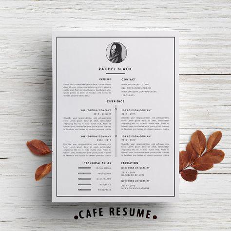 Modèle de CV moderne + modèle de lettre de motivation pour Word | Pack 2 imprimable bricolage | « Black Edition » | Design Modern et créatif