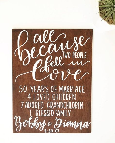 50th Anniversary Quotes, 50th Anniversary Decorations, 35th Wedding Anniversary, 50 Wedding Anniversary Gifts, Parents Anniversary Gift, Wedding Gifts, 30th Anniversary Gifts For Parents, Anniversary Chalkboard, Second Anniversary