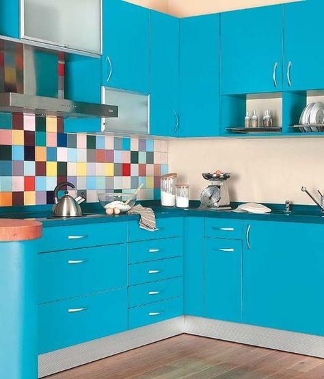 Una Cocina En Color Turquesa Cocina Azul Fondo De Mosaico De
