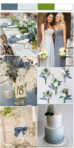 Dusty Blue Wedding Color Combos inspired by 2017 Pantone Elegant dusty blue and gray wedding colors