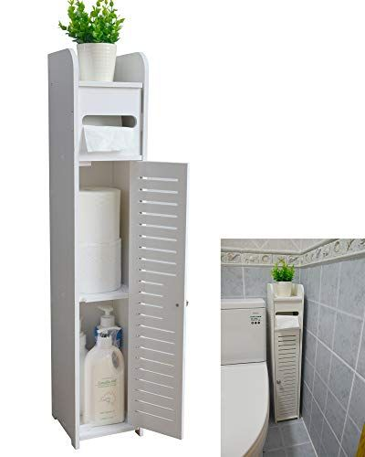 Aojezor Small Bathroom Storage Corner Floor Cabinet With Doors And Shelves Thin Toilet Bathroom Floor Cabinets Narrow Bathroom Storage Narrow Bathroom Cabinet
