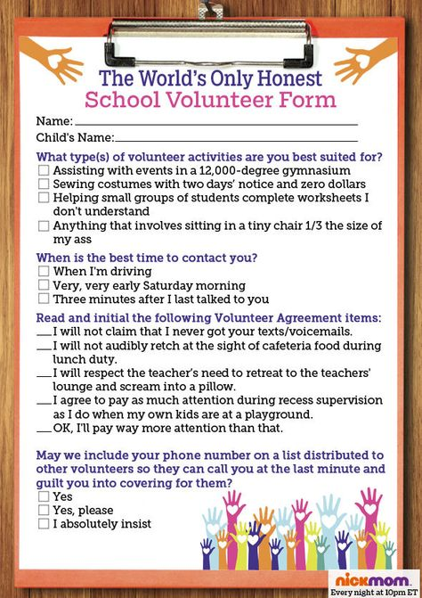 The Worldu0027s Only Honest School Volunteer Form - funny from - fmla form