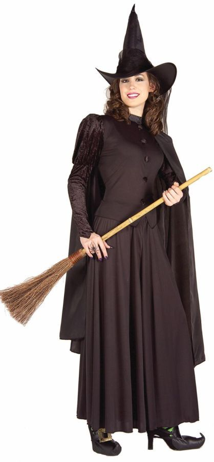 Ladies Long Length Traditional Black Witch Halloween Fancy Dress Costume /& Hat