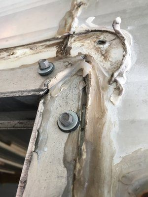 The Cameo Camper Renovation Repairing Holes In Aluminum Exterior Walls Prepping For Paint Lone Oak Design In 2020 Camper Renovation Vintage Camper Remodel Camper