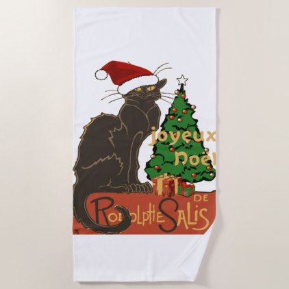 Joyeux Noel Le Chat Noir With Tree And Gifts Beach Towel Zazzle