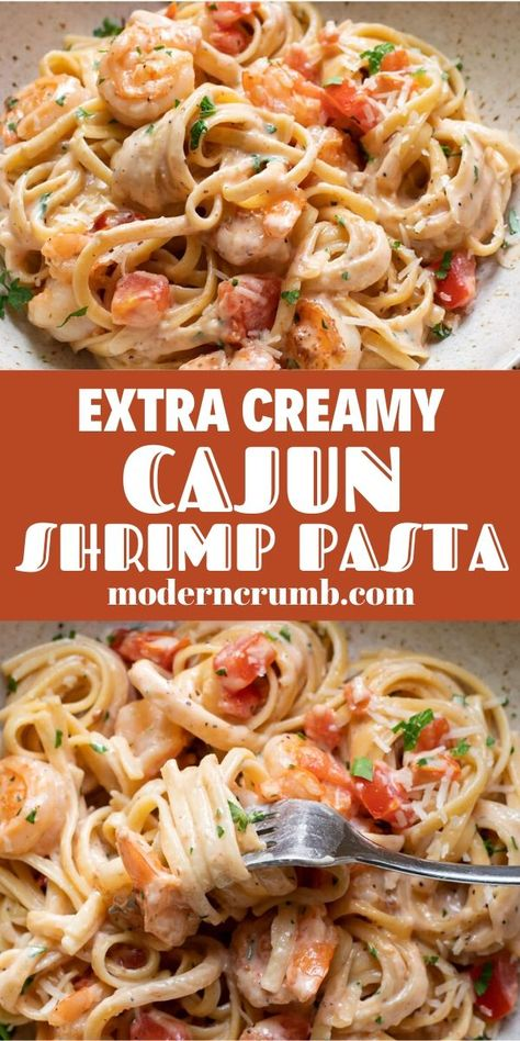 Creamy Cajun Shrimp Pasta With Tomatoes