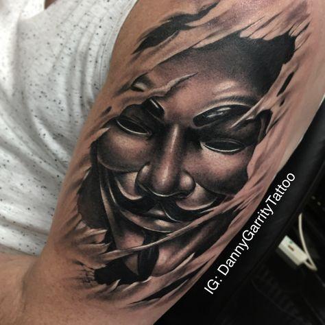 V For Vendetta Mask Skin Rip Tattoo Tatuagem Masculina Tatuagem