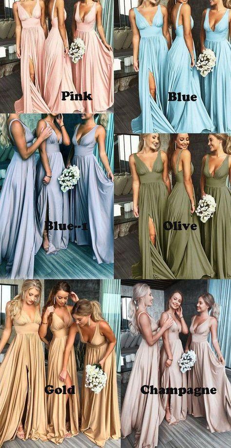 Deep V Neck Split Side Bridesmaid Dresses for Wedding