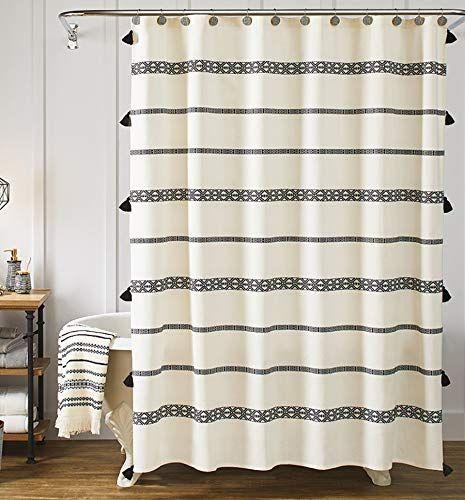 yokii tassel fabric farmhouse shower
