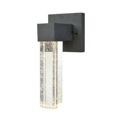 Emode Small 1 Light Matte Black With Clear Bubble Crystal Outdoor Integrated Led Wall Mount Sconce Sconces Outdoor Wall Sconce Contemporary Wall Sconces