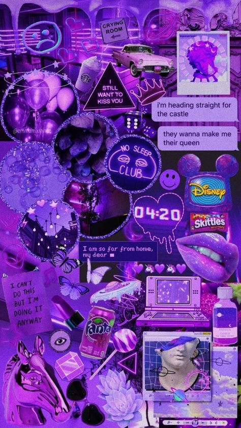 Purple Collage Aesthetic Pastel Wallpaper Neon Wallpaper
