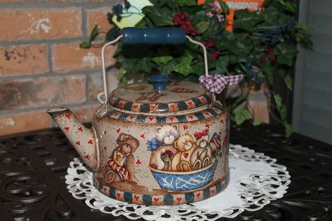 Bear Collector..Vintage Tea Kettle..Bears All Around...Kitchen Decor...Bear Collector..Hand Decorated... $44.95, via Etsy.