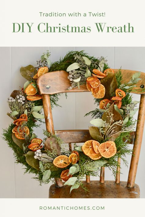 In decades past, finding an orange in your stocking was both a Christmas tradition and a rare treat. Today, you can celebrate the custom with a DIY dried orange Christmas wreath! #christmaswreath #romantichomes