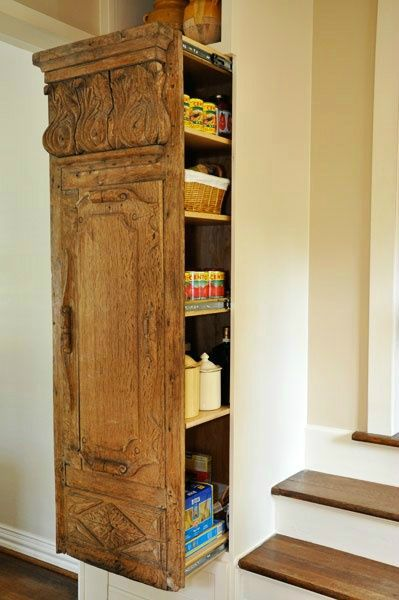 Sometimes you may fall in love with an Antique door that doesn't fit into your cabinetry plans. In this case, design cabinetry around the door and made a custom pull out pantry with a back. (Pull out drawer below, and niche with light above). Diy Kitchen, Kitchen Storage, Tall Cabinet Storage, Kitchen Pantry, 1970s Kitchen, Kitchen Decor, Cheap Kitchen, Pantry Storage, Kitchen Design