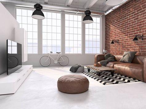 Wohnzimmer im Loft Design braune Ledercouch Haus Wohnzimmer - wohnzimmer retro style