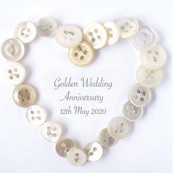 Personalised Golden Anniversary Button Heart Three Golden