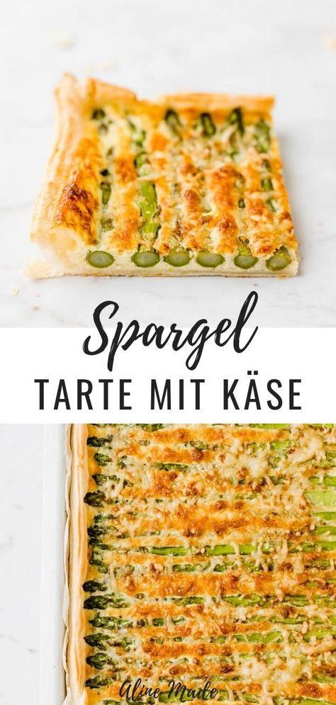 Spargeltarte mit grünem Spargel, Käse, und einer Ei-Rahm Sauce gebacken auf Blätterteig - das perfekte Tart Rezept für den Frühling und alle Spargelfans. #spargeltarte #blätterteig #spargel #rezepte #ofen