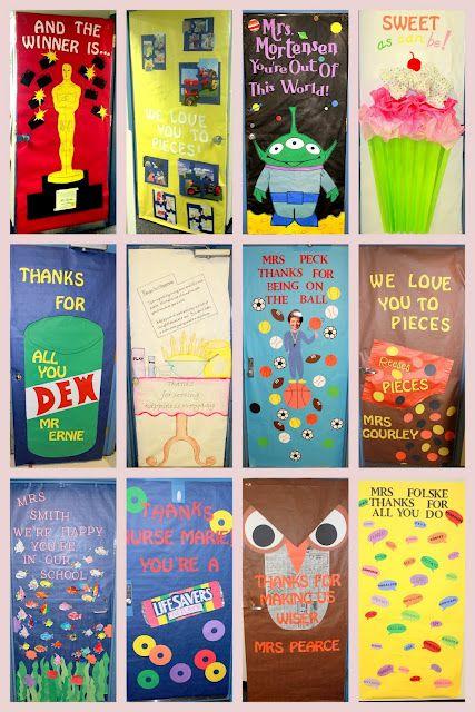 Decorate classroom doors!  Great idea surprise fellow teacher in the morning