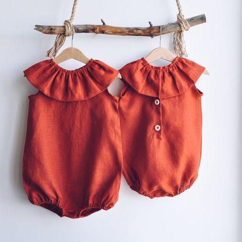 Dress-jumpsuit for girl linen jumpsuit by LaPetitePersonneShop