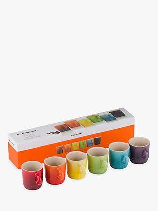 Le Creuset Stoneware Rainbow Espresso Mugs Set Of 6 100ml In 2020 Le Creuset Stoneware Creuset Mugs