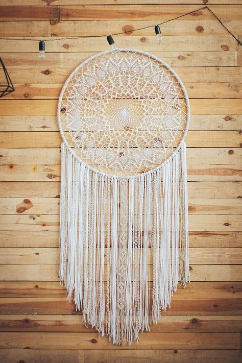Are you working on decorating a girls room? This beautiful dreamcatcher wall hanging will make a beautiful decoration for a girls bedroom. This stunning hand crafted boho wall art will bring a cozy feeling to the space. No matter if you are thinking a little girls room, a toddler or teenager girl room décor, this bohemian dream catcher will please your eye.