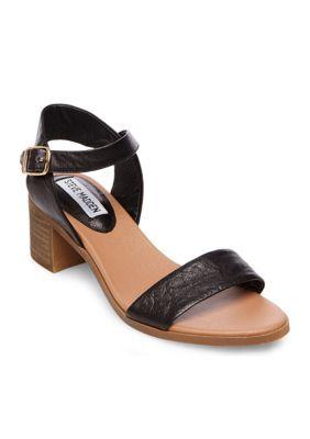 4529752bbc6 Steve Madden Women April Chunky Heeled Sandal - Black Leather - 10M ...