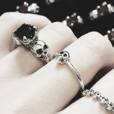 Gothic Jewelry Empty Casket — We're almost out of the Smokey Quartz Till Death. Skull Jewelry, Gothic Jewelry, Boho Jewelry, Jewelry Rings, Jewelry Accessories, Skull Rings, Gothic Clothing, Western Jewelry, Handmade Jewelry
