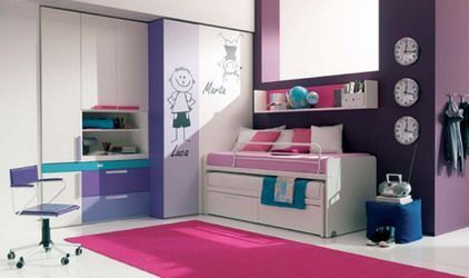 Bunk Beds With Storage And Funny Wall Stickers In Purple Teenage Girls  Bedroom Paint Decorating Design