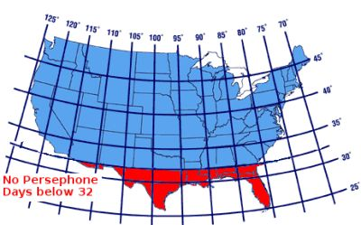 When To Plant For A Winter Harvest Location Of Persephone Days - Map of the us latitudes