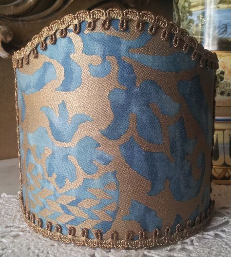 Wall Sconce Clip-On Shield Shade Fortuny Orsini in Blue-Green and Silvery Gold
