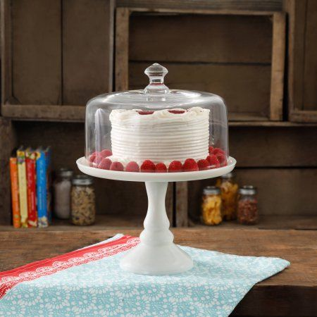 The Pioneer Woman Timeless Beauty 10 Inch Milk White Glass Cake Stand Glass Cakes Cake Stand With Dome Pioneer Woman