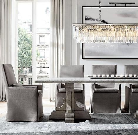 Florance Modern Luxury Rectangular Crystal Chandelier Dining Table Marble Handcrafted Dining Table Dining Table