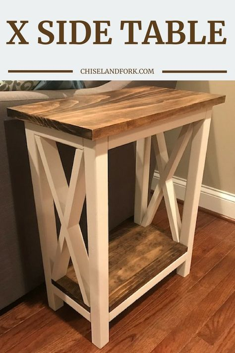 home sweet home X Side Table Step-By-Step Instructions Chisel & Fork DIY Chisel diy furniture plans Fork Home Instructions Side Stepbystep Sweet table Farmhouse End Tables, Rustic End Tables, Diy End Tables, Entryway Tables, Wood Side Tables, Pallet End Tables, White Farmhouse, Sofa Tables, Console Tables
