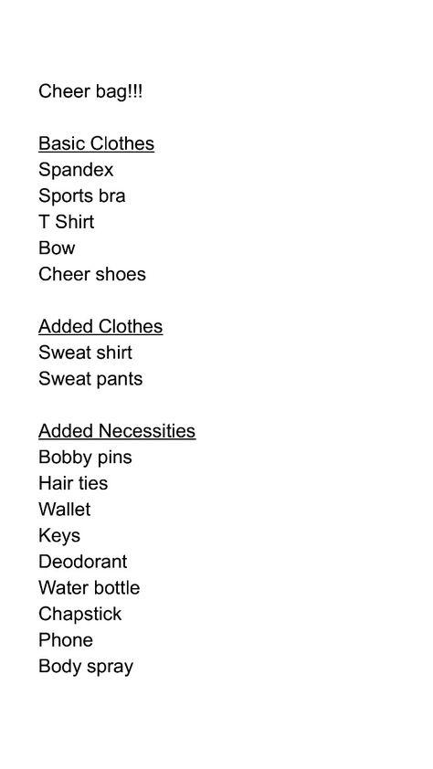 Basic Cheer Bag Necessities  Cheerleading    Cheer