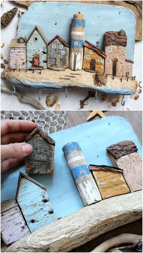 Driftwood ornaments & decor in scandinavian style by HousesAnyaSol Driftwood Projects, Driftwood Art, Into The Woods, House In The Woods, Beach Crafts, Home Crafts, Wooden Key Holder, Wooden Crafts, Scrap Wood Crafts