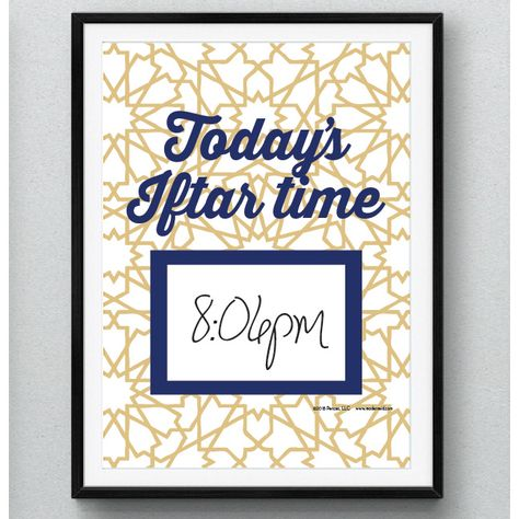 FREE download printable from modernEID. Daily Iftar time print, when