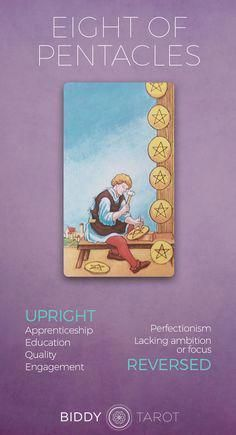 Eight of Pentacles Meaning - Get the detailed description at biddytarot.com. . #tarotmeanings #tarotcards #pentacles #eightofpentacles eight of pentacles tarot meaning, eight of pentacles tarot card, eight of pentacles upright, eight of pentacles reversed