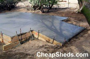 Concrete Slab Ramp Backyard Sheds Concrete Sheds Concrete Patio