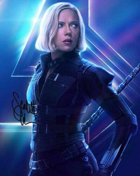 Avengers Infinity War Black Widow Scarlett Johansson Cast Signed Photo Autograph Reprint Poster