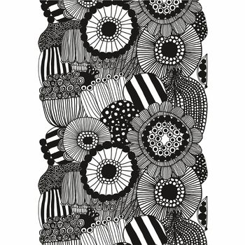 Marimekko Siirtolapuutarha White / Black Cotton Fabric Repeat - Click to enlarge