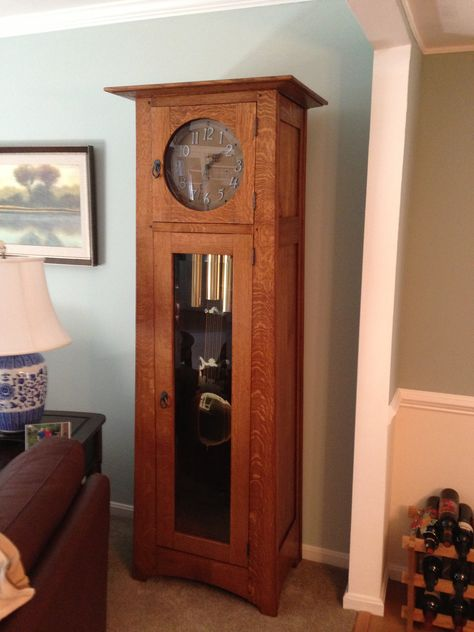 Grandfather Clock My Husband Made Quarter Sawn White Oak In The Mission Style Craftsman Clocks Wooden Gear Clock Grandfather Clock