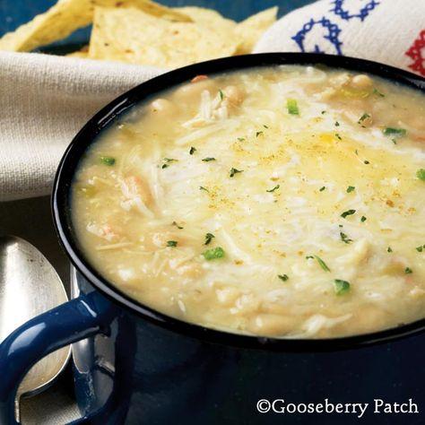 White chicken chili (original: 1 c. Great northern beans, 1 lb. chicken, 1 clove garlic, 1 chopped onion, 2 t. Oregano, 1/2t. Salt, 2 cans cream of chicken, 5 c. Chicken broth, 1 t. Cumin, 4.5 oz can diced green chiles, 2 t. Hot sauce)