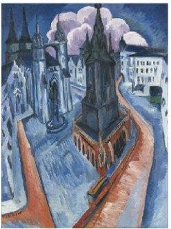 Ernst Ludwig Kirchner Der Rote Turm In Halle 1915 Tempera Auf Leinwand 120 X 90 5 Cm Museum Folkwang E Ernst Ludwig Kirchner Expressionist Art German Art