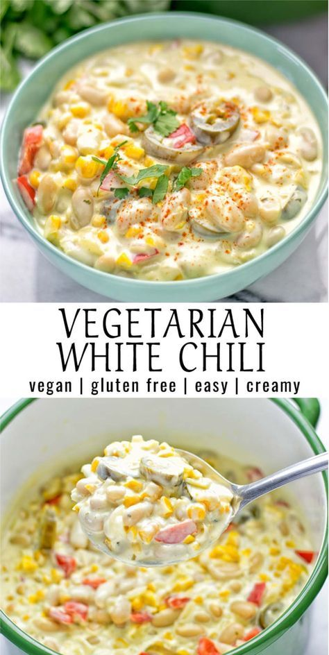 Stunning vegetarian White Chili recipe is made with vegan cream cheese, super easy and seriously creamy. No need for chicken whatsoever! A plant-based chili that will also work perfectly in a crockpot or instant pot. Vegan Recipes Easy, Veggie Recipes, Soup Recipes, Whole Food Recipes, Cooking Recipes, Cooking Chili, Vegan Chili Recipes, Fall Vegetarian Recipes, Vegan Vegetarian