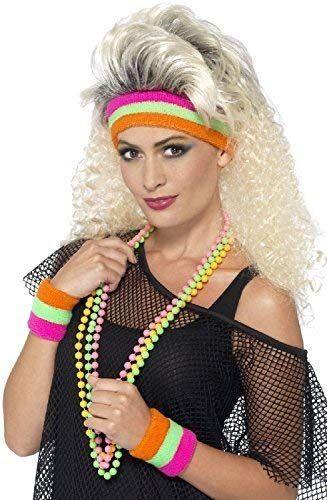 Neon Wristbands Sweatbands Headband Neon Fancy Dress Unisex 80/'s Theme Event Run