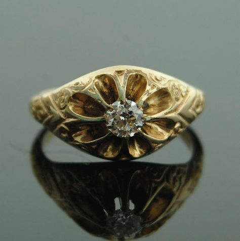 Antique Diamond Ring  14k Yellow Gold Ring with by SITFineJewelry.Gorgeous.