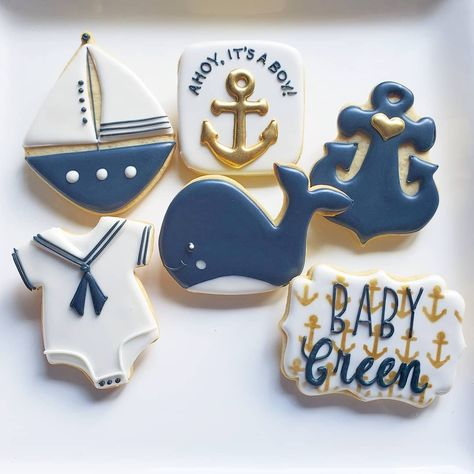 "Cookies in Chicago on Instagram: ""#nautical #nauticalbabyshower #nauticalcookies #cookiefavors #cookiesofinstagram #decoratedcookies #cookiesinchicago #cookiefavors #favors…"""