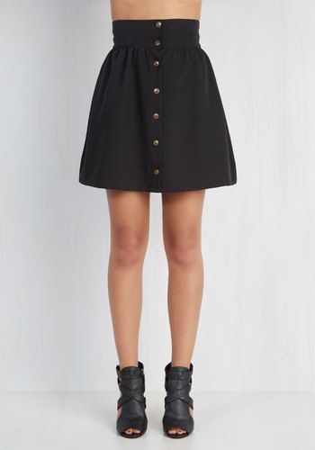 Curry Your Enthusiasm Skirt in Black. Brighten your daily prospects by infusing your wardrobe with this chic black skirt. #gold #prom #modcloth